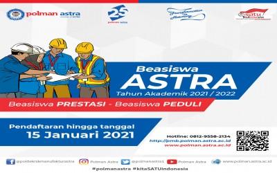 PMB Polman Astra Program Beasiswa Astra  TA 2021-2022 telah dibuka !!!